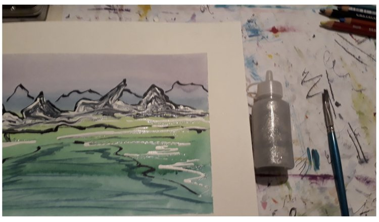 Landscape. Silvery water with glue bottle.